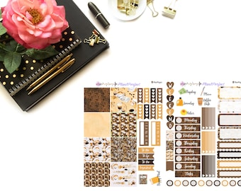 Coffee Kit// MINI HP Weekly Kit// 2 sheets of planner stickers