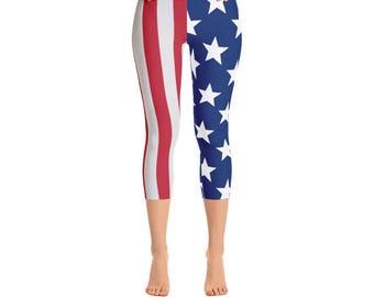 American Flag Leggings - Patriotic Leggings - Women's Capri Leggings - Capri Pants - Exercise Leggings - Fun Leggings - Women's Leggings -