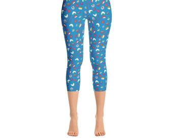 7a5712f506 Sushi Capris - Women's Capri Leggings - Capri Pants - Sushi Print Leggings  - Leggings - Food Leggings - Sushi Lover - Sushi Yoga Pants -