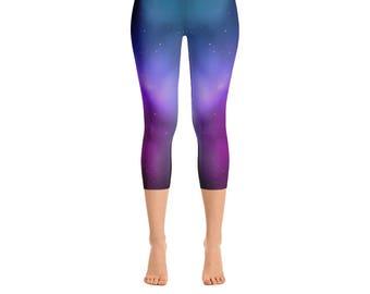 3412b8da621351 Galaxy Capris - Galaxy Print - Women's Capri Leggings - Capri Pants - Galaxy  Yoga Pants - Leggings - Galaxy Leggings - Women's Leggings -