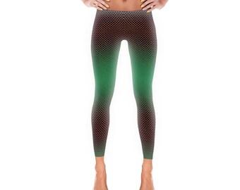 edb5cc8065665a Women's Leggings - Womens Fun Print Leggings - Mermaid Print - Scales -  Green and Gold - Ladies Leggings Adult Leggings Yoga Pants Exercise