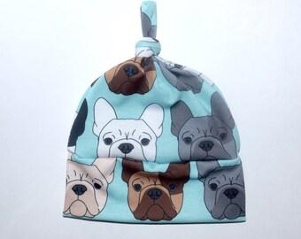 ed251b8a29c83 Handmade French Bulldog Newborn Hat - Bulldog Lover - Going Home Hat - Baby  Beanie - Dog Print - Puppy Love - Baby Shower Gift - Unisex