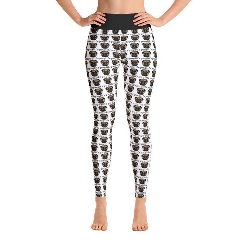 a641c363e3c4b Pug Print Women's Yoga Pants Yoga Leggings Yoga Pants | Etsy