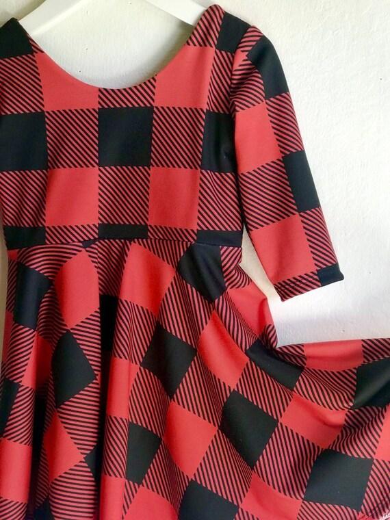 e8a784cfd5390 Handmade Girls Ballerina Twirl Dress Buffalo Plaid Twirly | Etsy