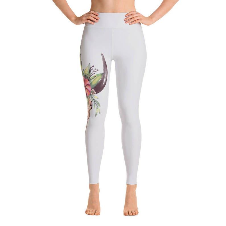 4345e98949 Cow Skull Yoga Pants Yoga Leggings Yoga Pants Cute Yoga | Etsy