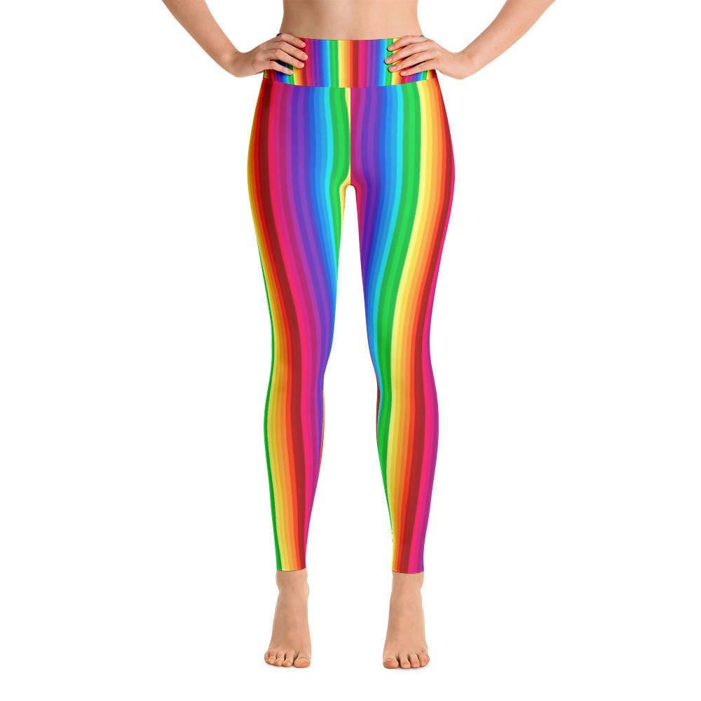 e1452fc2738ff Rainbow Yoga Pants Yoga Leggings Yoga Pants Cute Yoga | Etsy