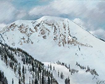 Mount Baldy. Alta Utah Winter Snowy Mountains. Original. Acrylic on Canvas.