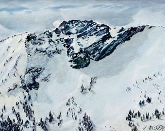Castle Fine Art Print Alta Utah Winter Snowy Mountains Landscape  Painting