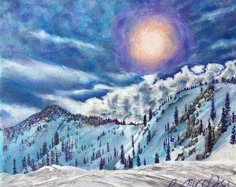 Wolverine Fine Art Print Alta Utah Winter Snowy Mountains Landscape Painting