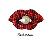 beaded Red Lips with pearl patch, small embroidered applique patch, embellishment, sparkly red lips