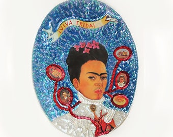 Blue Frida Kahlo portrait Mexican Sequin applique patch medallion, beaded icon image