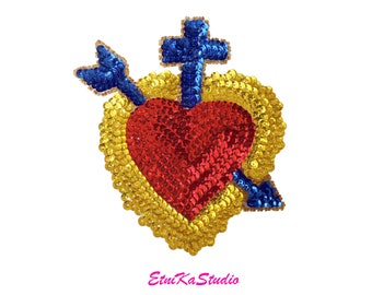 Amazing red sacred heart mexican sequin beads applique patch etsy