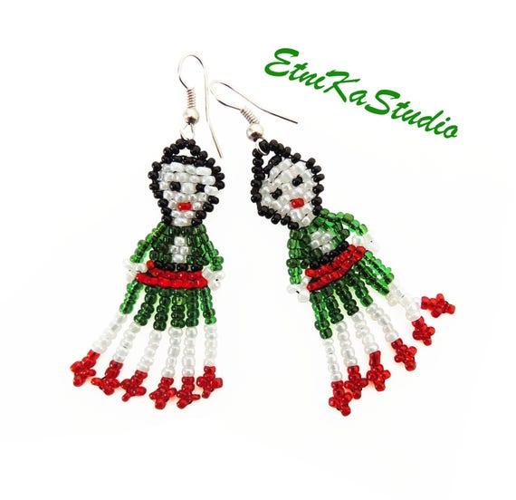 c658678f7 Lovely Mexican bead doll handmade tassel hook earrings | Etsy