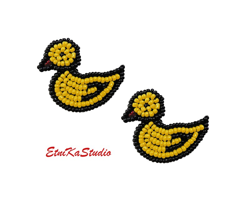 Puffy Design Embroidered Iron On Patch Crafts Duck Bird Baby