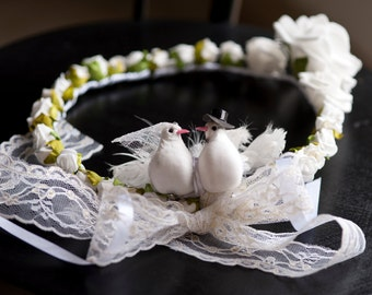 Bridal fabric flowers Crown model
