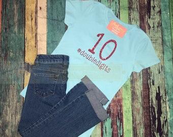 c1cfec36 DoubleDigits Birthday Shirt, 10th Birthday shirt, #doubledigits, tenth  birthday Raglan, glitter birthday, Birthday girl shirt, 10th birthday