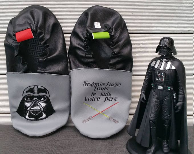 Slippers soft leather, leatherette shoe baby Bootie boy, girl, kids slippers, slippers custom slippers, starwars