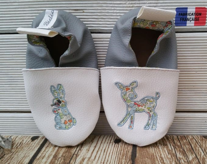 Soft leather slippers, faux leather, baby slipper, boy slipper, girl slipper, child slipper, custom slipper, fawn, rabbit