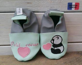 Slippers soft leather, leatherette, slippers, baby, boy, girl, kids slippers, slipper personalized shoe slipper panda, heart