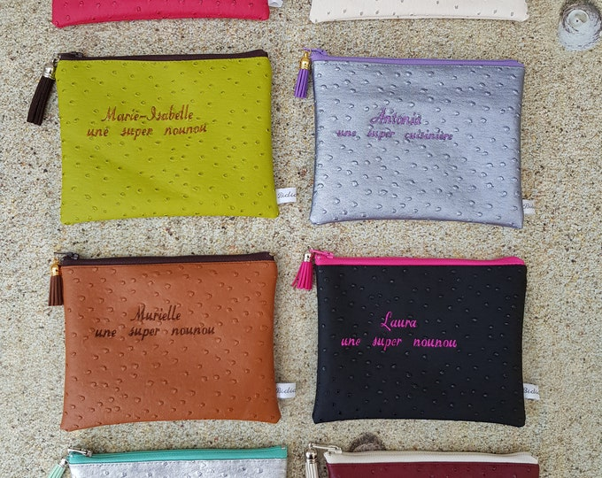 Clutch faux leather 18 x 13 or 20 x 15, clutch, Center pocket, Pocket MOM clutch purse, embroidered, personalized