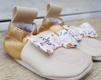Soft leather slippers, faux leather, baby slipper, girl slipper, child slipper, custom slipper, limited edition gold