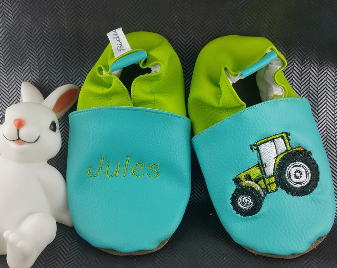 Soft leather slippers, faux leather, baby slipper, boy slipper, girl slipper, child slipper, custom slipper, tractor