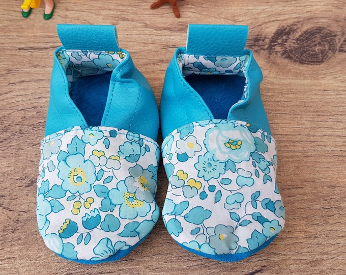 Soft leather slippers, faux leather, baby slipper, liberty, to customize