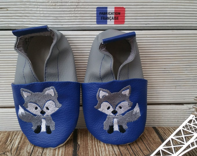wolf, baby wolf soft leatherette slippers
