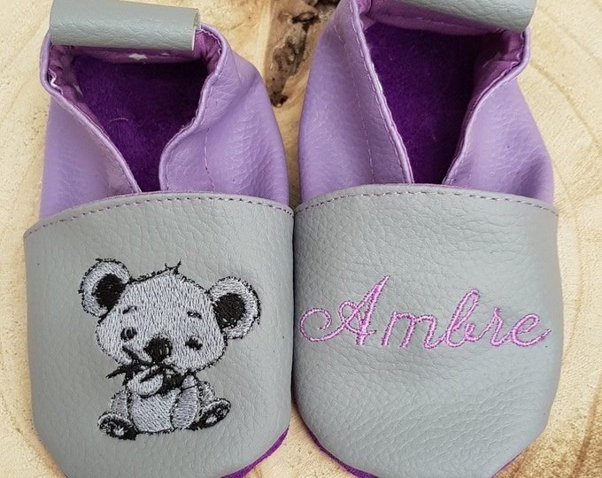 Soft leather, faux leather, baby slipper, boy's slipper, girl's slipper, child's slipper, custom slipper, koala