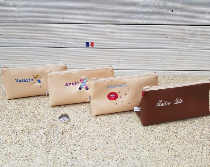 Kit school faux leather, embroidered child Kit Kit personalized