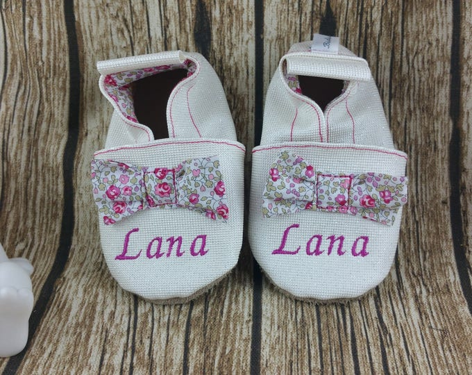 Soft leather slippers, faux leather, baby slipper, boy slipper, girl slipper, child slipper, custom slipper, sewn knots