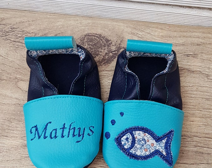 Soft leather and liberty slippers, fish to customize