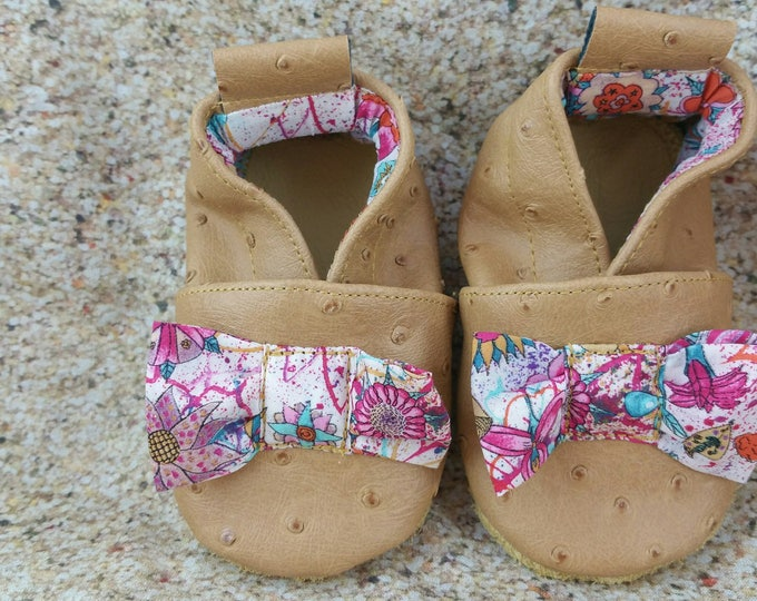 Soft leather, faux leather, liberty, custom slipper with sewn knots