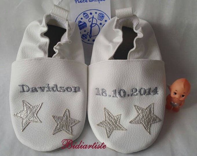 Soft leather slippers, faux leather, boy slipper, girl slipper, child slipper, custom slipper, baptism