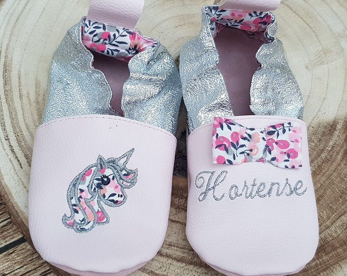 Soft leather, faux leather, baby slipper, girl's slipper, child's slipper, custom boot, limited edition unicorn