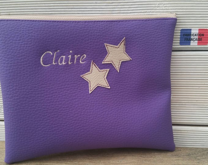 Clutch faux leather Center pocket, Pocket MOM clutch purse, embroidered, personalized