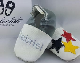 Slippers soft leather, leatherette, slippers, baby, boy, girl, kids slippers, slipper personalized shoe slipper colorful stars