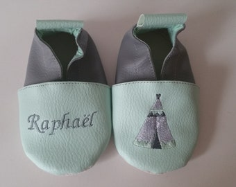 Slippers soft leather, leatherette, slippers, baby, boy, girl, kids slippers, slipper personalized shoe slipper Indian teepee