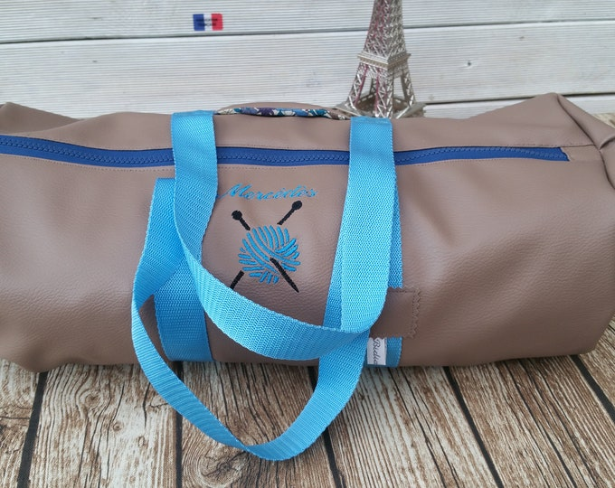Duffel bag in imitation leather, bag weekend round bag, embroidered, personalized gym bag, knitting bag