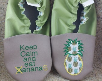 Slippers soft leather, leatherette shoe baby Bootie boy, girl, kids slippers, slippers custom slippers, pineapple