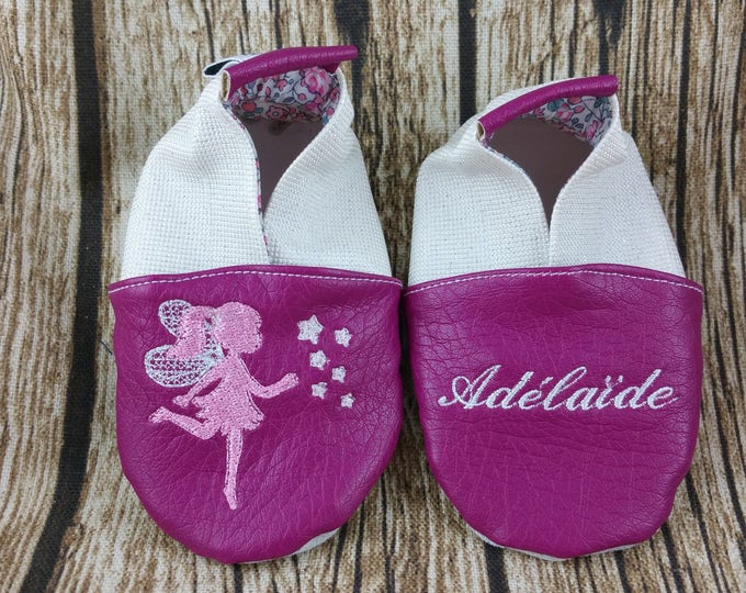 Soft leather slippers, faux leather, baby slipper, boy slipper, girl slipper, child slipper, custom slipper, fairy