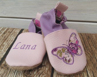 Slippers soft leather, leatherette shoe baby Bootie boy, girl, kids slippers, slippers custom slippers, butterfly