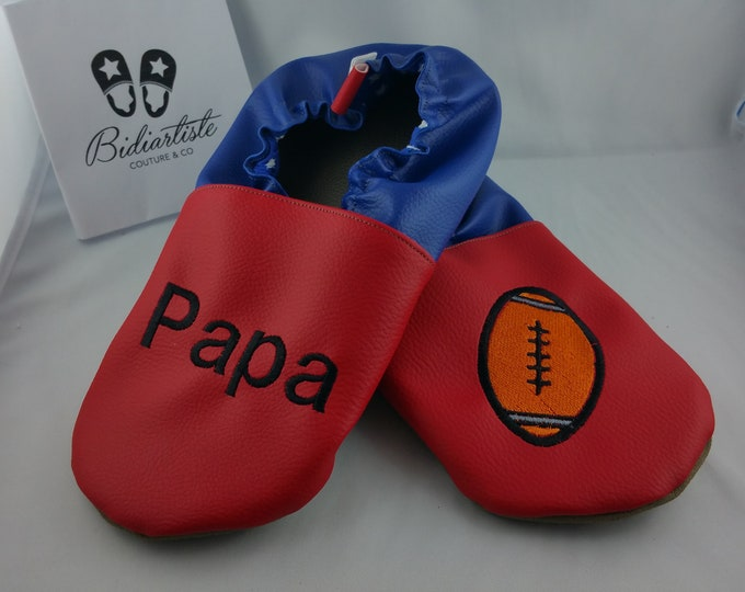 Slippers soft leather, leatherette, adult slippers, slipper custom, rugby