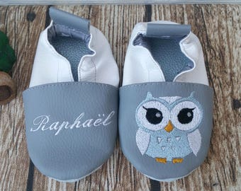 Slippers soft leather, leatherette, slippers, baby, boy, girl, kids slippers, slipper personalized shoe slipper owl, OWL