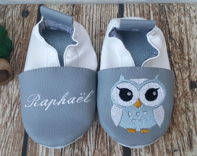 Soft leather slippers, faux leather, baby slipper, boy slipper, girl slipper, child shoe, custom slipper, owl, owl