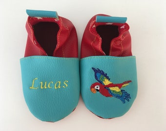 Slippers soft leather, leatherette shoe baby Bootie boy, girl, kids slippers, slippers custom slippers, Parrot