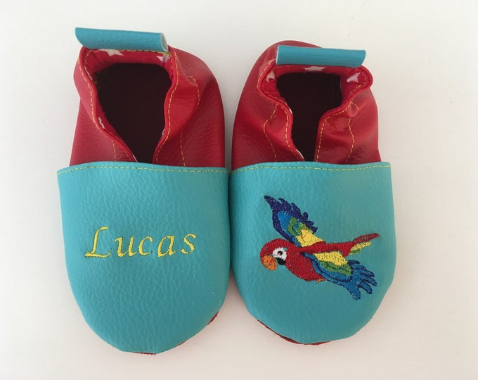 Soft leather slippers, faux leather, baby slipper, boy slipper, girl slipper, child slipper, custom slipper, parrot