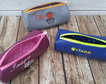 School Kit, Kit, Kit faux leather, embroidered bag, round case, personalized clutch