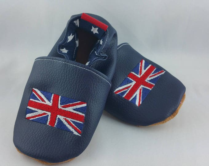 Soft leather slippers, faux leather, baby slipper, boy slipper, girl slipper, child slipper, custom slipper, flag