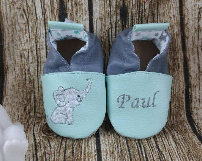 Soft leather slippers, faux leather, baby slipper, boy slipper, girl slipper, child slipper, custom slipper, elephant